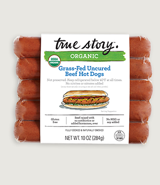 Organic Grass-Fed Uncured Beef Hot Dogs Product Packaging
