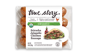 Organic Sriracha Jalapeño Chicken Sausage Packaging