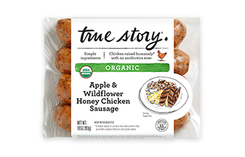 Organic Apple & Wildflower Honey Chicken Sausage Packaging