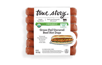 Organic Grass-Fed Uncured Beef Hot Dogs Packaging
