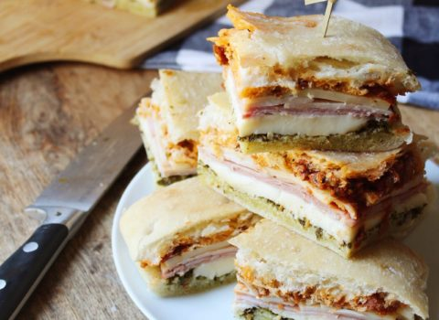 Melted Mozzarella, Ham & Turkey Sandwich with Pesto